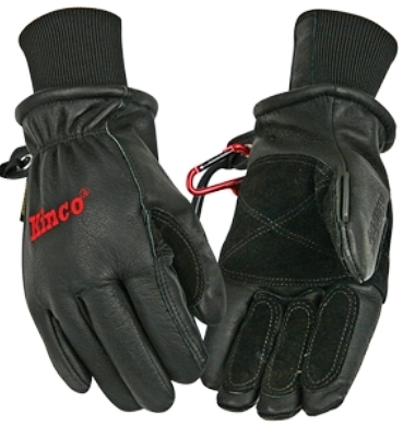 Kinco Black Leather Ski Gloves 900MAX