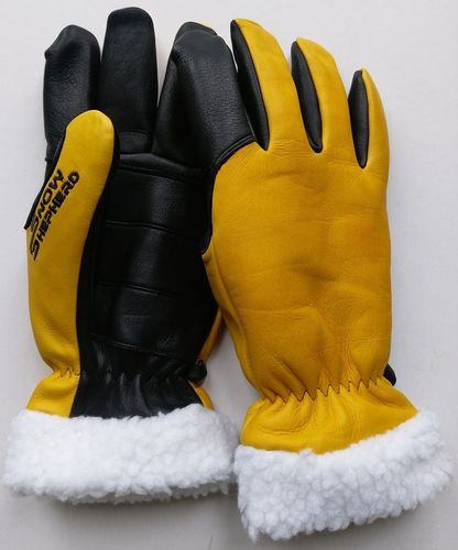 Snowshepherd Leather Ski Work Gloves Yellow and Black